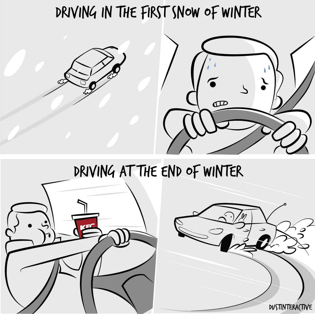 Driving in the first and last snow of winter